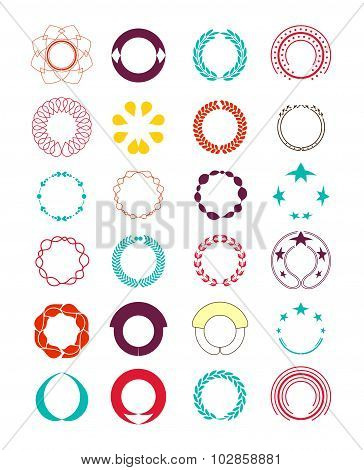 Wreaths And Badge. Elements Decorate Page And Logo. Vector Illustration
