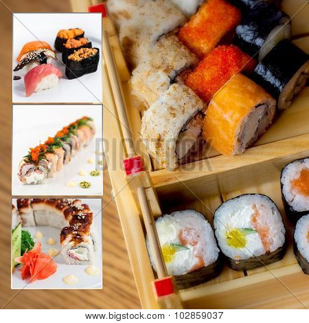 Assorted Sushi Collage Photo Set
