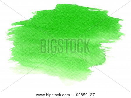 Green Watercolor Stain With Watercolor Paint Blotch