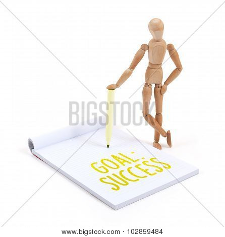 Wooden Mannequin Writing - Goal: Success