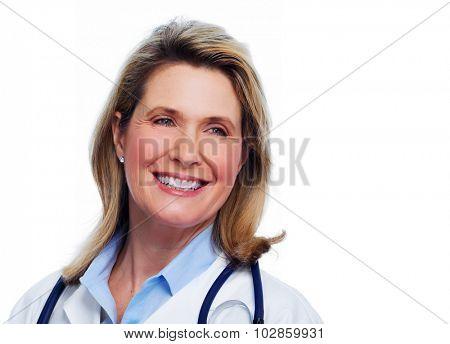 Senior doctor woman portrait isolated white background.