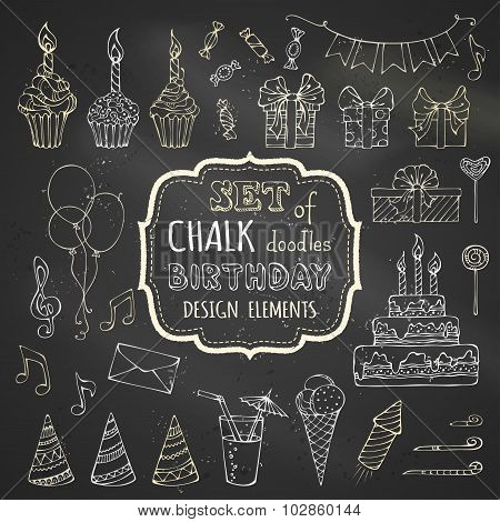Chalk Set Of Hand-drawn Birthday Design Elements.