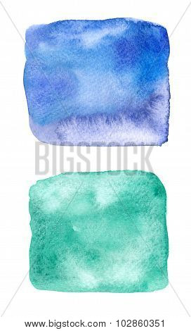 Colorful Blue And Green Watercolor Square Stains