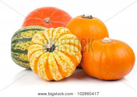 Yellow Pumpkins Vegetables Isolated On White Background