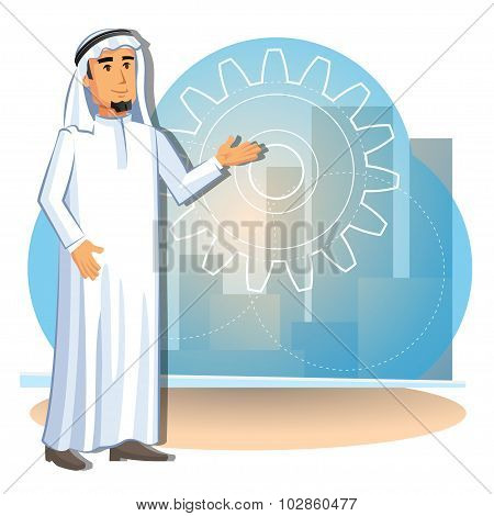 Cartoon Illustration Of Arabian Businessman On The Background Of The City. Vector