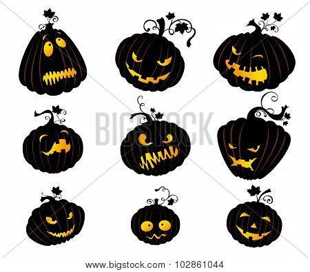 Set Of  Jack-o-lanterns.