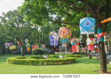 Zhongshan Guangdong China-sep 27,2015:different Lanterns Hanging In A Park In The Morning Of The Chi