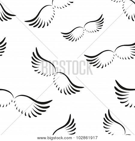 Pattern Of Curved Angel Wings.