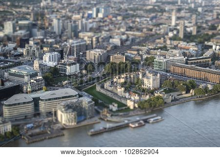 Aerial View Of London With With Tilt Shift Model Village Effect Filter