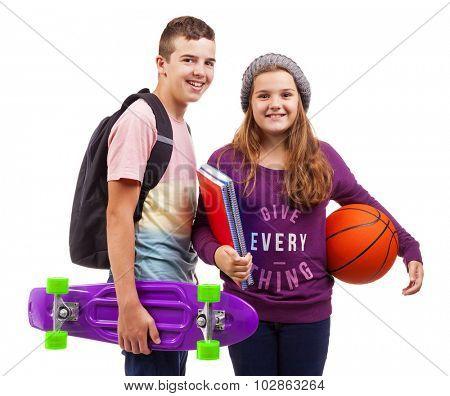 School kids smiling on white background