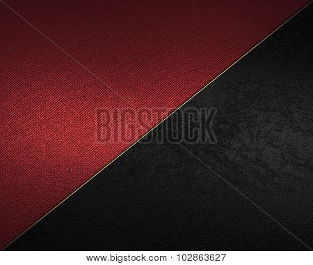 Red And Black Background With Gold Ribbon. Element For Design. Template For Design.
