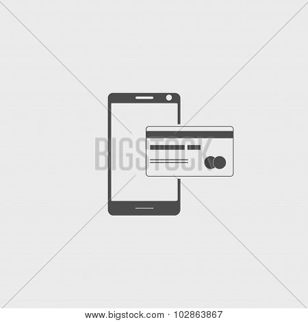 Credit Card And Modern Mobile Phone Vector Icon.