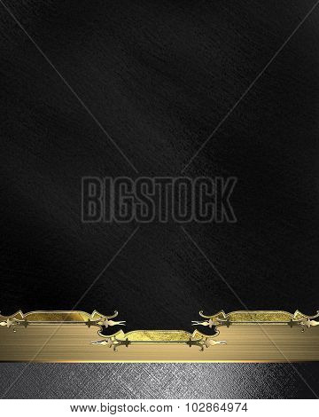 Black Background With A Metal Plate With A Gold Ornament. Element For Design. Template For Design. C