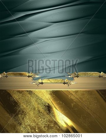 Green Abstract Background With Gold Decorative Ornament. Element For Design. Template For Design. Co