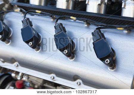 Spark plugs of a race car engine