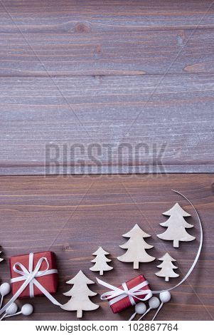 Red Christmas Gifts, Presents, White Ribbon, Copy Space, Tree