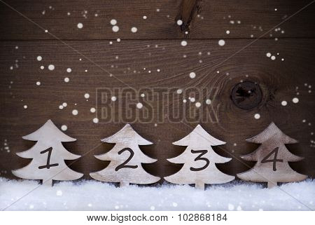 Christmas Tree, Snow, Copy Space, Four Number, Advent, Snowflake
