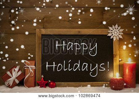 Christmas Card, Blackboard, Snowflakes, Candle, Happy Holidays