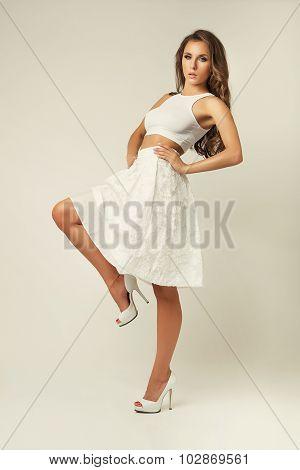 Girl In White Skirt Studio Posing Romantic