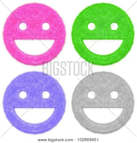 Set of happy smile icons with fur