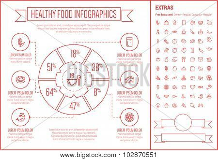 Healthy Food infographic template and elements. The template includes the following set of icons - orange, cabbage, bun, tomato, beans, egg, fresh milk and more. Modern minimalistic flat thin line