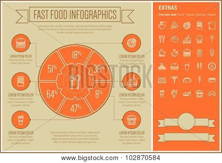 Fast food infographic template and elements. The template includes the following set of icons - croissant, taco, food, serving tray, hot meal, burger with soda, hotdog, popsicle and more. Modern