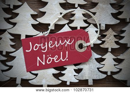 Red Label With Joyeux Noel Means Merry Christmas