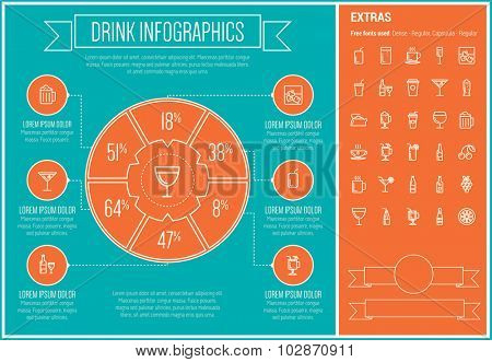 Drink infographic template and elements. The template includes the following set of icons - coffee, whisky, wine, cocktail, water, shake, hot choco and more. Modern minimalistic flat thin line vector
