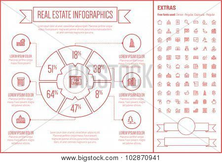 Real Estate infographic template and elements. The template includes the following set of icons - Real estate agent, seminar, training, investment, for sale placard and more. Modern minimalistic flat