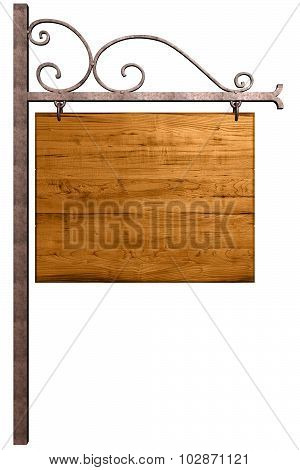Old wooden signboard