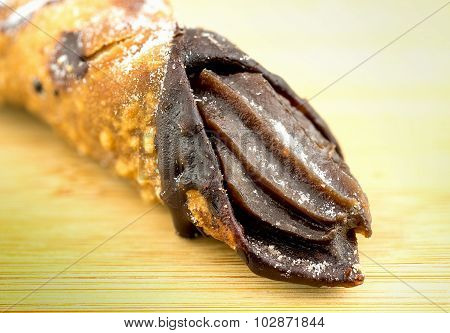 Closeup Of A Tasty Italian Cannoli Dessert