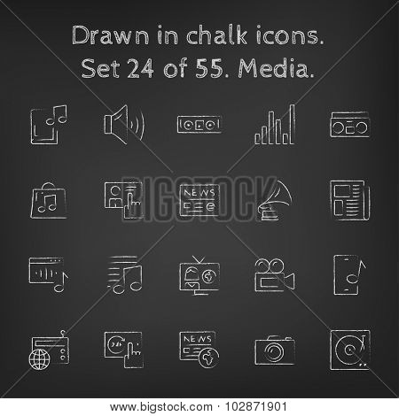 Media icon set hand drawn in chalk on a blackboard vector white icons on a black background.