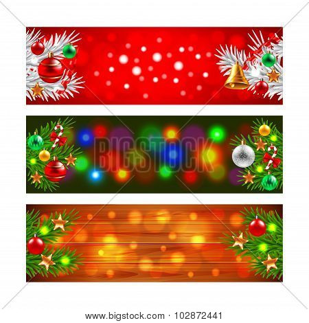 Christmas Banners With Decorated Fir-tree Branches