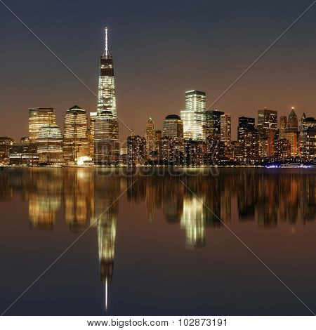 NEW YORK CITY- SEP 20: One World Trade Center out focus at night on September 20, 2013 in New York City. It is the 4th highest building in the world..