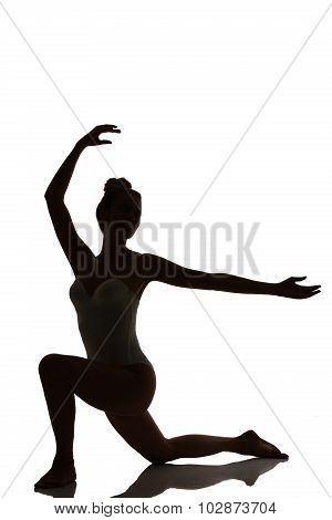 Female Dancer Posing Silhouette Studio Shot