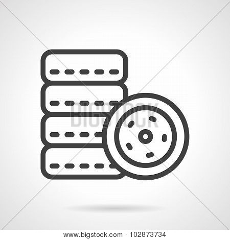 Car tires simple line vector icon