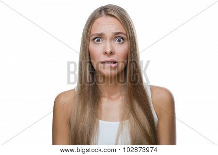 Portrait of shocked woman on white background