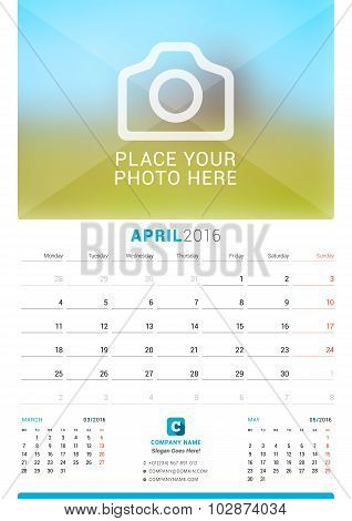 April 2016. Wall Monthly Calendar For 2016 Year. Vector Design Print Template With Place For Photo.