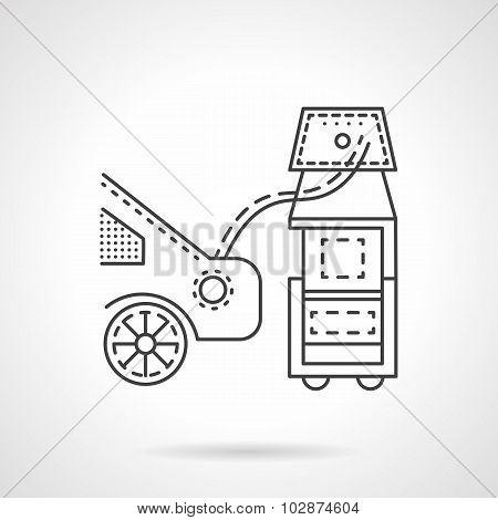 Car emission control line vector icon