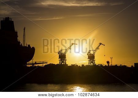 Shipyard At Sunset