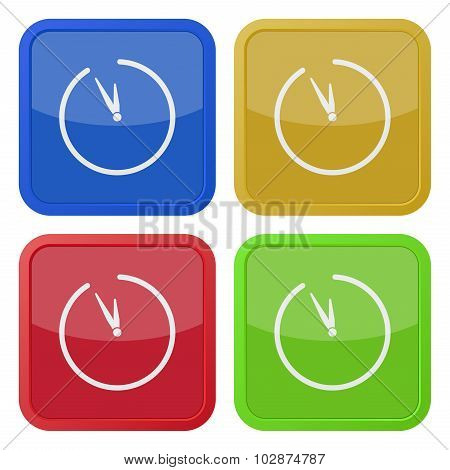 Set Of Four Square Icons With Clock