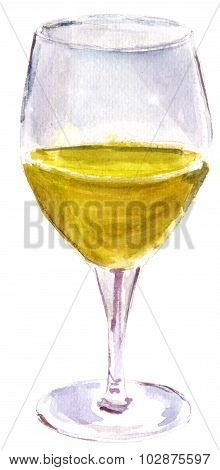 A glass of golden white wine, watercolor drawing, on white background