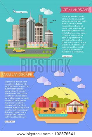 Urban Landscape illustration with road, tall buildings, skyscrapers, car, bicycle, plane. Farm Lands
