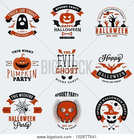 Set Of Vintage Typography Halloween Badges, Labels. Halloween Night Party. Vector Illustration