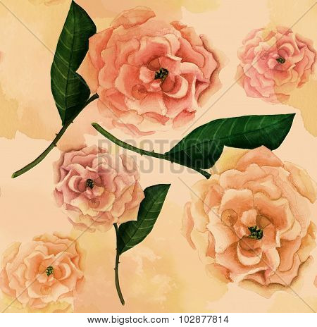 Vintage-styled watercolor rose seamless background pattern, sepia-toned with watercolor stains