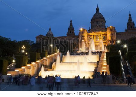 BARCELONA, SPAIN - MAY 2, 2015:  Placa De Espanya at night, Barcelona, Spain