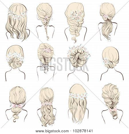 set of different hairstyles wedding hairstyles hair styles with flowers sketch hairstyle head lady isolated on a white background blonde hair
