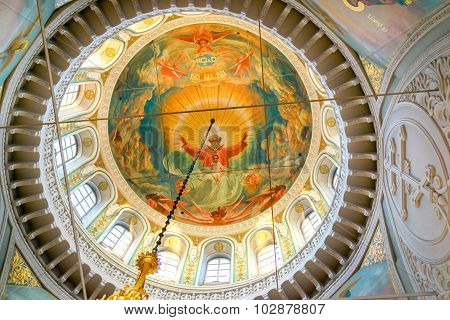 Izhevsk, Russia - September 16, 2015: Decorative Elements Of The Ceiling Of The Saint Michael's Cath