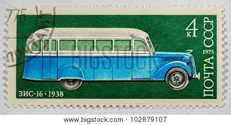 USSR - CIRCA 1975: A stamp printed in USSR shows ZIS-16 autobus, 1938, Development of Russian automo