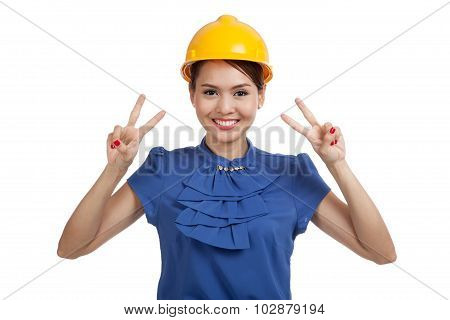 Asian Engineer Woman Show Victory Sign With Both Hands